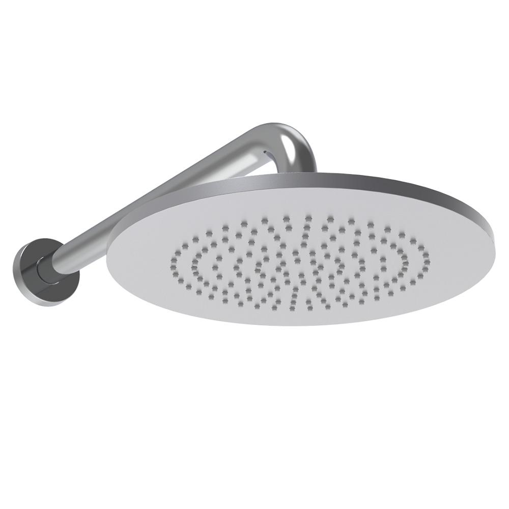 Soffione doccia tondo in alluminio con braccio a parete